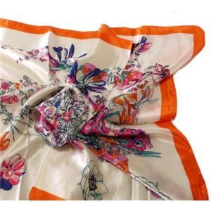 華麗で富貴な7シルク調 花柄90角正方形大判スカーフ (A1〜A10)|takouya|05