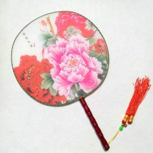古典丸形団扇 宮扇 踊り扇子団扇(うちわ)お花小鳥柄  扇面の模様や柄はお任せになります   サイズ...