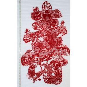 切り絵・「鯉・松の花文字・寿」・中国民間芸術切り紙細工|takouya