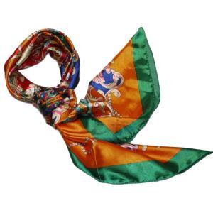 本気の安さ 華麗なシルク調 花柄90cm正方形大判スカーフ 制服用のおしゃれなレディーススカーフ|takouya