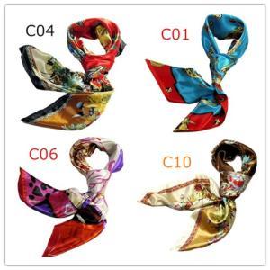 華麗で富貴なシルク調スカーフ 花柄90角正方形大判スカーフ (C1〜C10)|takouya