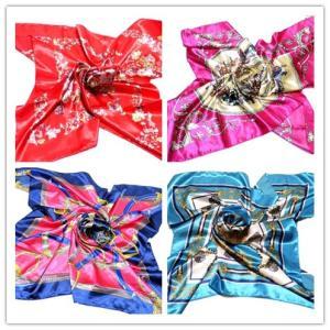 華麗で富貴なシルク調 花柄90角正方形大判スカーフ (D1〜D10)|takouya