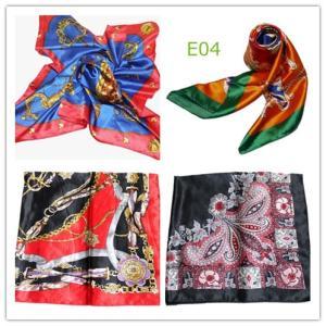 華麗で富貴なシルク調 花柄90角正方形大判スカーフ (E1〜E10)|takouya