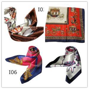 華麗で富貴なシルク調 花柄90角正方形大判スカーフ (I1〜I10)|takouya