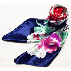 バリエーション豊か 華麗な上品シルク調スカーフ 90角正方形 大判レディース スカーフ 贈り物 ギフト人気な花柄 春夏秋冬、年中に使える|takouya