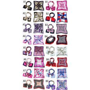 かわいいシルク調スカーフ 全色96種 最短翌日ご配達可能 中判 60cm正方形スカーフリボン 事務服 企業制服スカーフ  人気柄スカーフ|takouya