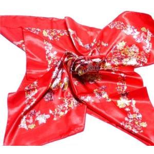 華麗な上品シルク調スカーフ 90角正方形大判レディース スカーフ 贈り物 ギフト人気な花柄 春夏秋冬、年中に使える スカーフ(D1〜5)|takouya