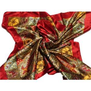 華麗な上品シルク調スカーフ 90角正方形大判レディース スカーフ 贈り物 ギフト人気な花柄 春夏秋冬、年中に使える スカーフ(E6〜10)|takouya