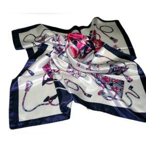 華麗な上品シルク調スカーフ 90角正方形大判レディース スカーフ 贈り物 ギフト人気な花柄 春夏秋冬、年中に使える スカーフ(I1〜5)|takouya