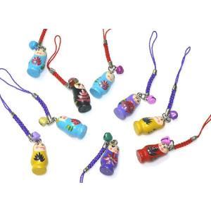 かわいい木製人形柄 携帯ストラップ 中国お土産 携帯グッズ ストラップ|takouya