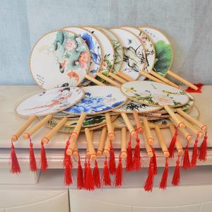 団扇 古典丸形団扇 踊り扇子団扇(うちわ)中国伝統柄古典宮 扇子
