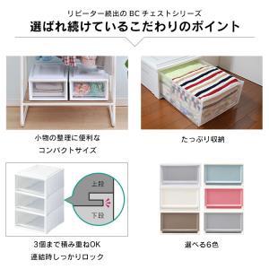 (3個セット)収納ケース 衣装ケース 衣装ボックス 透明 衣類収納 収納 プラスチック チェスト BC-L 奥行50cm 浅型 ホワイト/クリア アイリスオーヤマ|takuhaibin|05