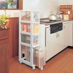 シンク下 キッチンチェスト 4段 幅20cm キッチン アイリスオーヤマ 031 (隙間収納 キッチン収納  カウンター下収納 シンク下収納)の写真