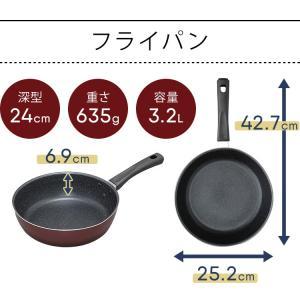 IH対応 フッ素コート フライパン 24cm 片手鍋18cm 2点セット (D) takuhaibin 11