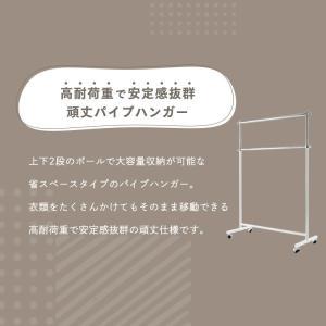 パイプハンガー 2段 【耐荷重116kg】 CW3001-78 コートハンガー ハンガーラック 頑丈 洋服掛け 高耐荷重 アイリスオーヤマ|takuhaibin|02