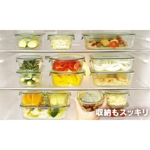 イワキ iwaki 保存容器 耐熱ガラス おしゃれ パック&レンジ 7点セット ジャー  ふた ガラス 食品 ストック PSC-PRN-G7 ガラス製 タッパー 7点|takuhaibin|03
