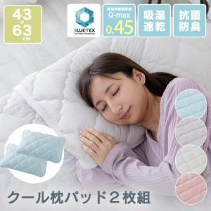 抗菌防臭+吸放湿 接触冷感クール枕パッド・リバーシブル2枚組 EIRPP-4363-2P クリアグローブ (D)|takuhaibin