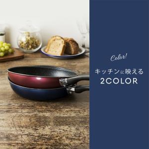 フライパン IH対応 焦げ付かない 26cm フッ素コート おしゃれ 調理器具 軽い 軽量 くっつきにくい FPM-26 (D) ネイビー レッド|takuhaibin|05
