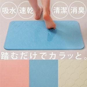 珪藻土バスマット 珪藻土 バスマット 60cm × 40cm ピンク イエロー ブルー BMD-6039Sの写真