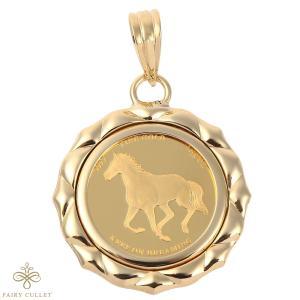コインペンダントトップ ホース&馬蹄モチーフ 1/25oz 18金フレームの純金コイン