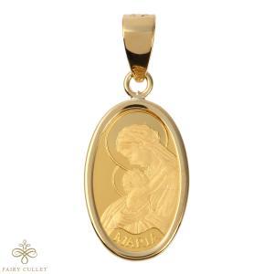 スイスPAMP社製の純金製の聖母マリアプレートと日本製18金フレームのペンダントトップ|takumi-shopping