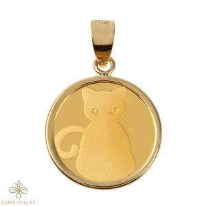 スイスPAMP社製の純金製のキャットコインと日本製18金フレームのペンダントトップ 猫と肉球モチーフ|takumi-shopping