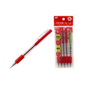 低粘ノックボールペン 赤 5本入×10セット takumikikaku