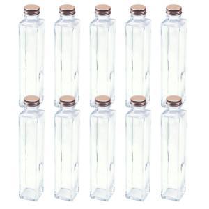 ハーバリウム 四角柱ガラス瓶 200cc 10本セット キャップ付 硝子ビン 透明瓶 花材 ウエディング プリザーブドフラワー インスタ SNS インテリア 植|takumis