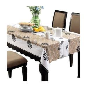 お部屋のインテリアに! おしゃれなテーブルクロス ブラウン ストライプ 花柄 防水 撥水 137×183cm|takuta2