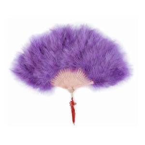 アクセントの飾り紐付 高級羽扇子 フェザーファン ゴージャス パーティー ジュリアナ東京 チャイナドレス 紫|takuta2