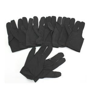 本格練習  ビリヤード グローブ 3本指 10枚セット ブラック フリー 左右兼用 伸縮 手袋 キュー ボール 空縁隊