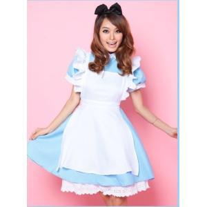 メイド服 ブルー  リボンカチューシャ付 /コスチューム/コスプレ/アリス衣装/メイドさん6043|takuta2