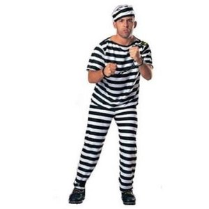 囚人服 衣装3点セット  帽子・服・ズボン 手錠  コスチューム メンズ  長袖 takuta2