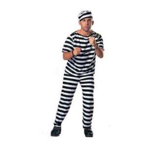 囚人コスチューム 男性用 帽子/服/ズボンの3点セット 半袖 takuta2