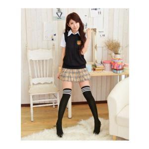 コスプレ の 定番   女子高生 制服 コスプレ チェックスカート Lサイズ 3点セット takuta2