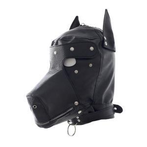 PUレザー 全頭 犬マスク コスプレ プロレス ジョーク ブラック|takuta2
