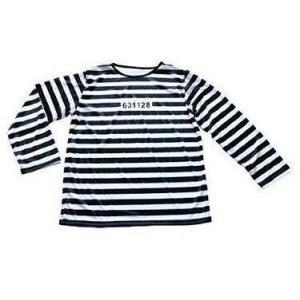 囚人 男女兼用 コスプレ 3点セット  囚人服 帽子 手錠 長袖|takuta2