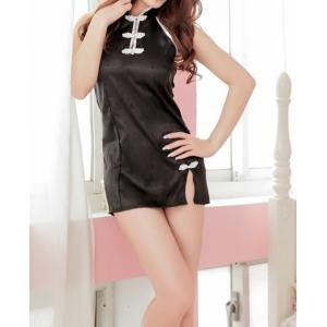 チャイナドレス チャイナ服 コスプレ コスチューム レディース 可愛い 黒 ブラック|takuta2