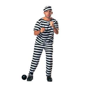囚人コスチューム 男性用 帽子/服/ズボンの3点セット|takuta2