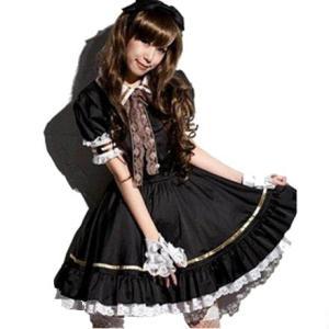 メイド 衣装 かぼちゃパンツ 白付き 8点セット コスチューム ブラック レディース XLサイズ|takuta2