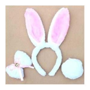 うさ耳 カチューシャ 3点セット リボンとしっぽ付き コスチューム用小物 ホワイト×ピンク|takuta2
