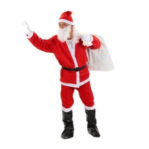 サンタ コスプレ 衣装 メンズ (7点完璧フルセット 帽子+ジャケット+ズボン+ベルト+ひげ+サンタさん袋+靴) takuta2