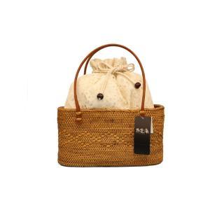 人気のブランド撫松庵のアタバッグです。浴衣や夏着物に合わせる籠巾着でインドネシア産の天然素材アタの籠...