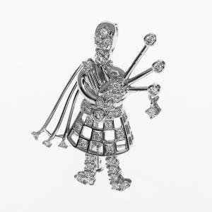 TASAKI タサキ ダイヤ(D0.68ct) スコットランド パイパーモチーフ ペンダントトップ ブローチ 750 K18 ホワイトゴールド 31580710|tamariya78|01