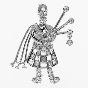 TASAKI タサキ ダイヤ(D0.68ct) スコットランド パイパーモチーフ ペンダントトップ ブローチ 750 K18 ホワイトゴールド 31580710|tamariya78|02