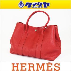 b62fe7de70ee HERMES エルメス ガーデンパーティ36 PM ルージュピマン ネゴンダ □R刻印(2014年製造) シルバー金具 赤系 バッグ 30540708