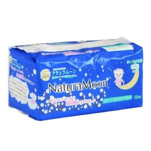 ナチュラムーン生理用ナプキン(多い日の夜用/12個入り) 肌面コットン100% 高分子吸収体不使用|tamashii