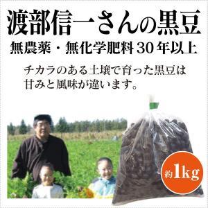 北海道産 無農薬黒豆 - 渡部信一さんの黒豆約1kg  無農薬 無化学肥料栽培30年の黒豆 北海道産 渡部信一さんは北海道で化学薬品とは無縁の農業を営む生産者|tamashii