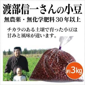 北海道産 無農薬小豆 - 渡部信一さんの小豆(約1kg×3袋) 無農薬・無化学肥料栽培30年の美味しい小豆  渡部さんは化学薬品とは無縁の農業を営んでいる生産者 tamashii