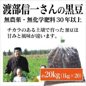 北海道産 無農薬黒豆 - 渡部信一さんの黒豆約20kg(約1kg×20袋) 無農薬・無化学肥料栽培30年の美味しい黒豆 渡部信一さんは化学薬品とは無縁の生産者|tamashii